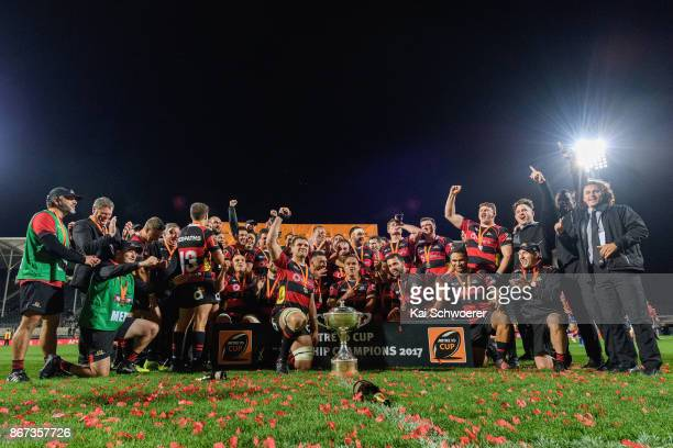 Captain Luke Whitelock of Canterbury and his team mates celebrate with the Rugby Cup after their win in the Mitre 10 Cup Premiership Final match...
