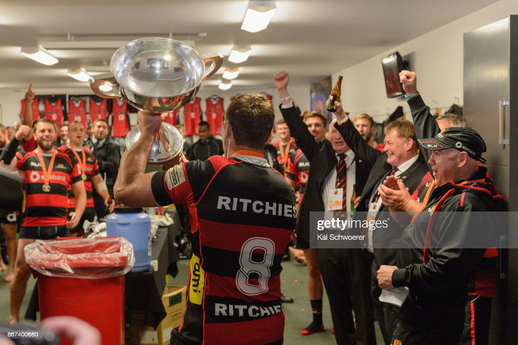Captain Luke Whitelock of Canterbury lifts the Rugby Cup after the win in the Mitre 10 Cup Premiership Final match between Canterbury and Tasman at AMI Stadium on October 28, 2017 in Christchurch, New Zealand.