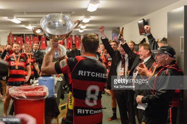 Captain Luke Whitelock of Canterbury lifts the Rugby Cup after the win in the Mitre 10 Cup Premiership Final match between Canterbury and Tasman at...