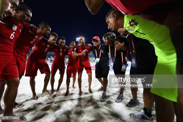 Captain Madjer of Portugal speaks to his players prior to the FIFA Beach Soccer World Cup Bahamas 2017 group C match between United Arab Emirates or...
