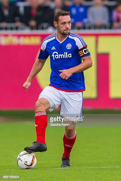 Captain Maik Kegel of Holstein Kiel during the 3 League match between Holstein Kiel and FC Hansa Rostock at Holsteinstadion on September 19 2015 in...