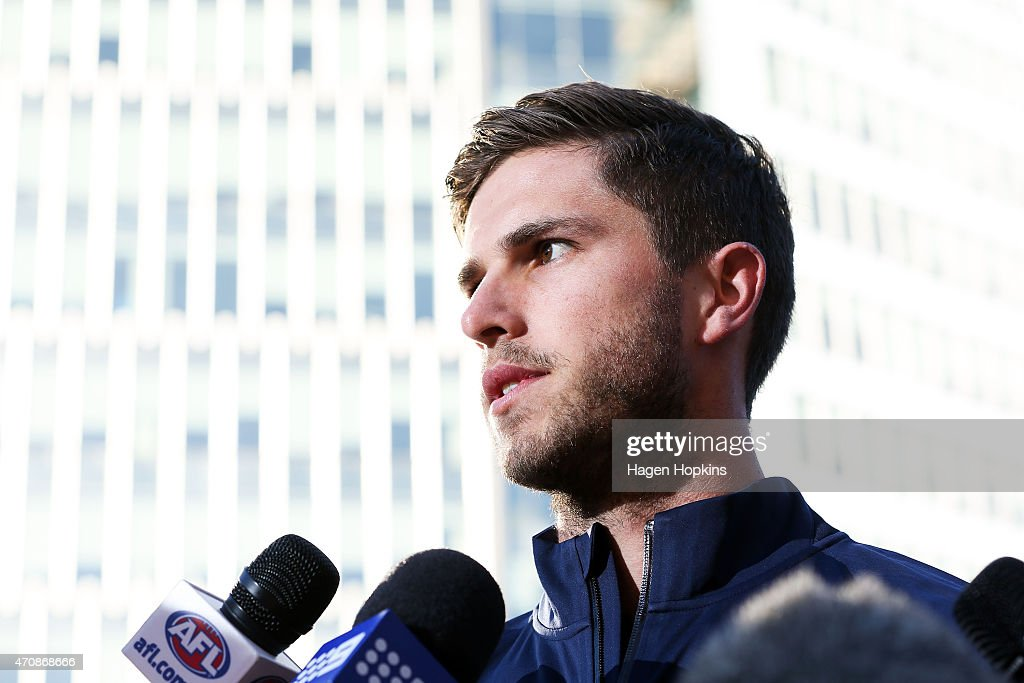 Captain Marc Murphy of Carlton speaks during an AFL press conference at Wellington Railway Station on April 24, 2015 in Wellington, New Zealand.