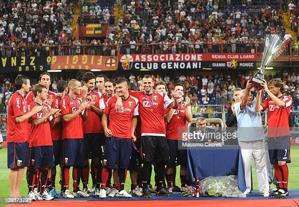 Captain Marco Rossi of Genoa CFC raises the cup of XIV Spagnolo Trophy during preseason friendly match between Genoa CFC and Athletic Bilbao at Luigi...