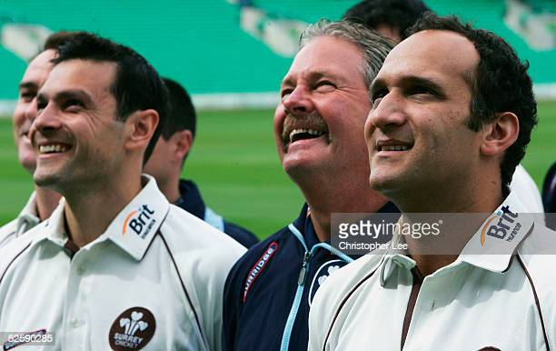 Captain Mark Butcher Manager Steve Rixon and Vice Captain Mark Ramprakash of Surrey CC pose for the cameras during the Surrey County Cricket Club...