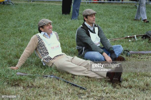 Captain Mark Phillips and the Duke of Westminster at the Jackie Stewart Celebrity Shooting Match at the North Wales Shooting School in Deeside on...