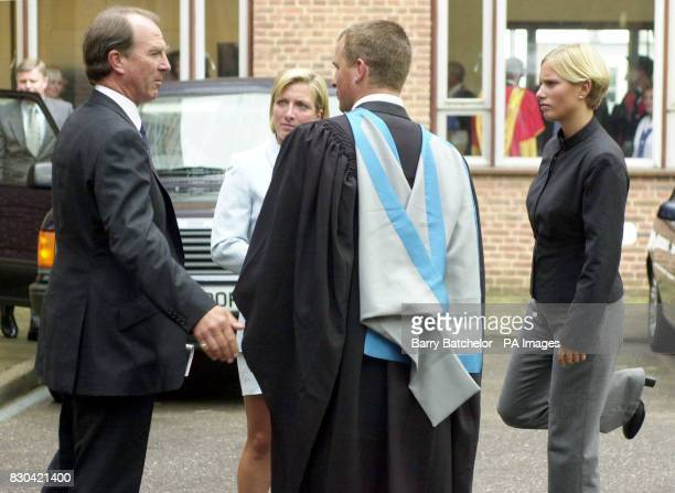 Captain Mark Phillips congratulates son Peter who gained a Batchelor of Science degree at his graduation at a ceremony in Exeter University's Great...