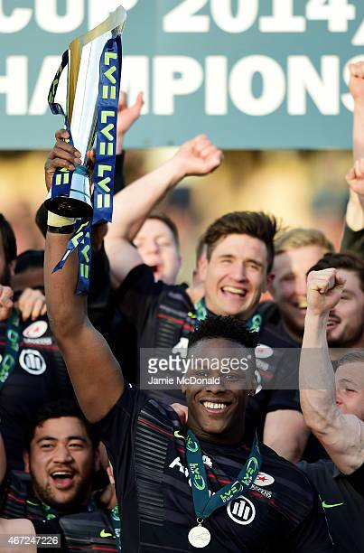 Captain Maro Itoje of Saracens lifts the trophy following his team's 2320 victory during the LV= Cup Final match between Saracens and Exeter Chiefs...