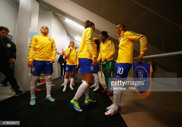 Captain Marta of Brazil waits with team mates in the tunnel prior to the FIFA Women's World Cup 2015 round of 16 match between Brazil and Australia...