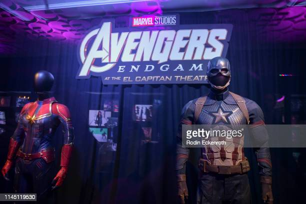 Captain Marvel's and Captain America's suits on display at the Marvel Studios's Avengers Endgame opening day marathon event at El Capitan Theatre on...