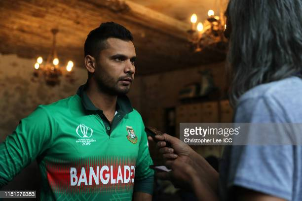 Captain Mashrafe Mortaza of Bangladesh during the Captains Media Day prior to the ICC Cricket World Cup 2019 at The Film Shed on May 23 2019 in...