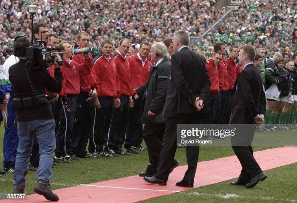 Captain Matrin Johnson of England is asked to move his team before kick off during the RBS Six Nations Championship match between Ireland and England...