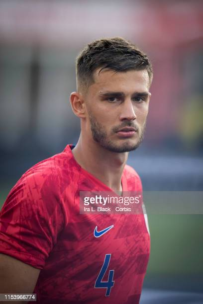 Captain Matt Miazga of the United States at the beginning of the International Friendly match between the USA Men's National Team and Jamaica FIFA at...