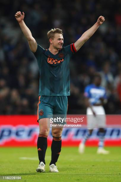Captain Matthijs de Ligt of Ajax celebrates after the Eredivisie match between De Graafschap and Ajax at Stadion De Vijverberg on May 15 2019 in...