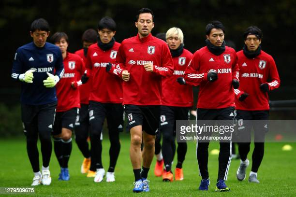 Captain, Maya Yoshida of Japan leads his team during a Japan training session at Soccer Club Duno on October 10, 2020 in Arnhem, Netherlands.