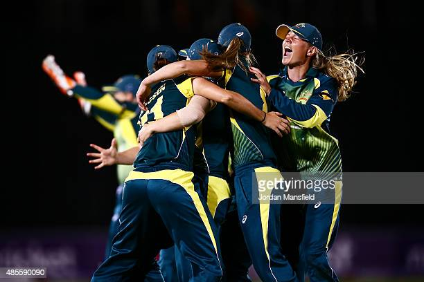 Captain Meg Lanning of Australia celebrates with her team after winning the Ashes during the 2nd NatWest T20 of the Women's Ashes Series between...