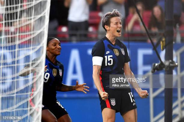 Captain Megan Rapinoe and Crystal Dunn of the United States celebrate after scoring during the first half of the SheBelieves Cup match against Japan...