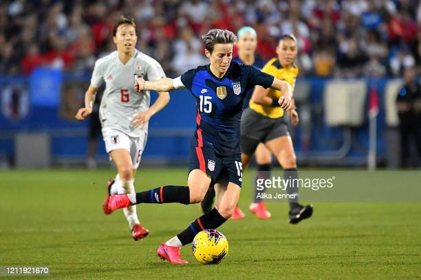Captain Megan Rapinoe of the United States moves the ball during the first half of the SheBelieves Cup match against Japan at Toyota Stadium on March...
