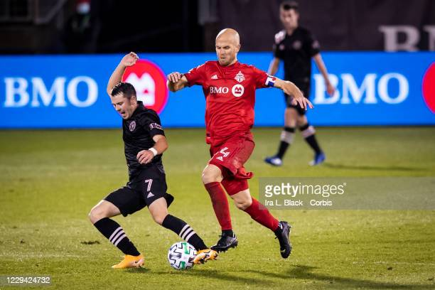 Captain Michael Bradley of Toronto FC fouls Lewis Morgan of Inter Miami CF and is given a yellow card in the second half of the Major League Soccer...
