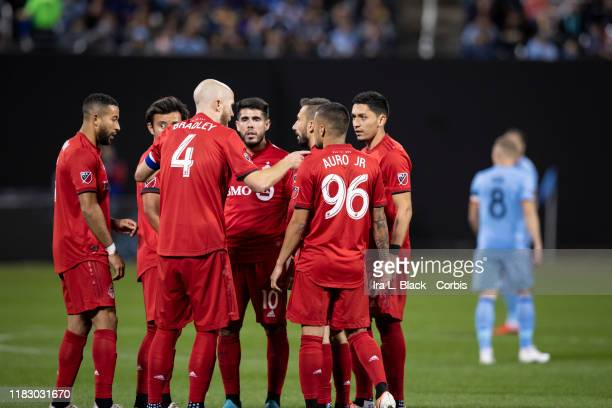 Captain Michael Bradley of Toronto FC gives direction to his teammates during 2019 MLS Cup Major League Soccer Eastern Conference Semifinal match...