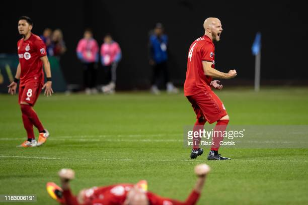 Captain Michael Bradley of Toronto FC reacts after the whistle blows at the end of the 2nd half of the 2019 MLS Cup Major League Soccer Eastern...