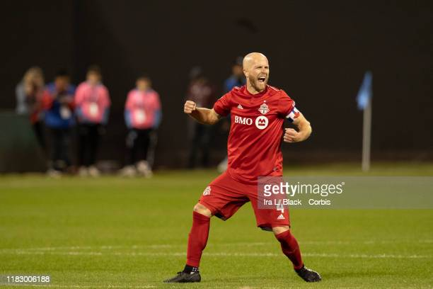 Captain Michael Bradley of Toronto FC shows all of his emotion as he reacts after the whistle blows at the end of the 2nd half of the 2019 MLS Cup...