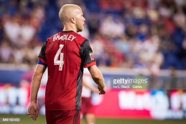 Captain Michael Bradley of Toronto FC walks the pitch during theToronto FC vs New York Red Bulls MLS match at Red Bull Arena on May 19 2017 in the...