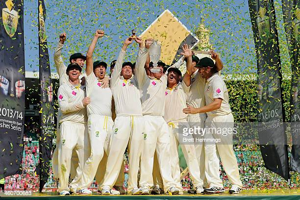 Captain Michael Clarke and the Australian team celebrates with the urn after winning the Ashes series 50 during day three of the Fifth Ashes Test...