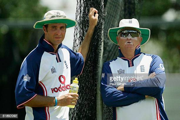 Captain Michael Vaughan and Coach Duncan Fletcher look on during the England nets session at Kingsmead Cricket Ground ahead of the second test match...