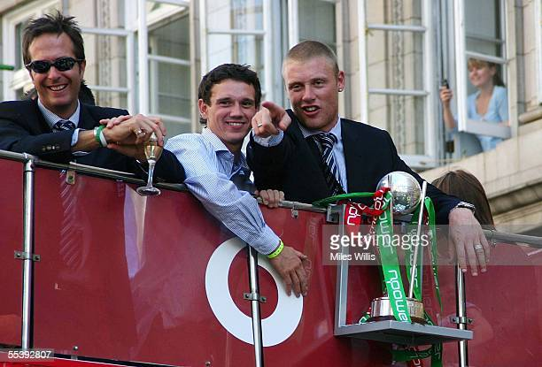 Captain Michael Vaughan Gary Pratt and Andrew Flintoff ride the Victory Parade bus as the England Cricket team enter Trafalgar Square as part of the...