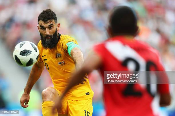 Captain Mile Jedinak of Australia in action during the 2018 FIFA World Cup Russia group C match between Australia and Peru at Fisht Stadium on June...