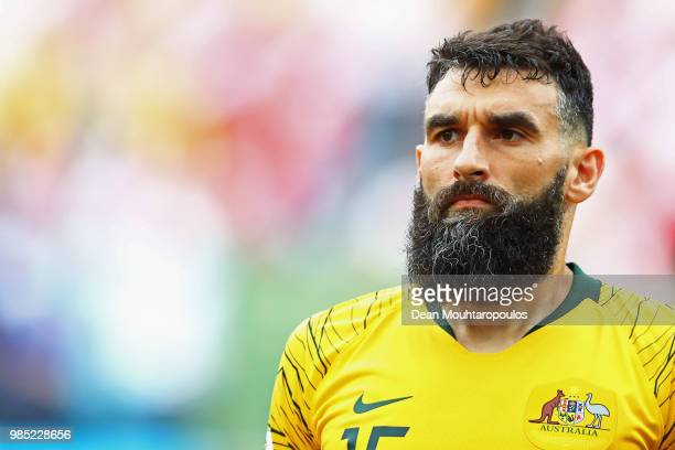 Captain Mile Jedinak of Australia looks on prior to the 2018 FIFA World Cup Russia group C match between Australia and Peru at Fisht Stadium on June...