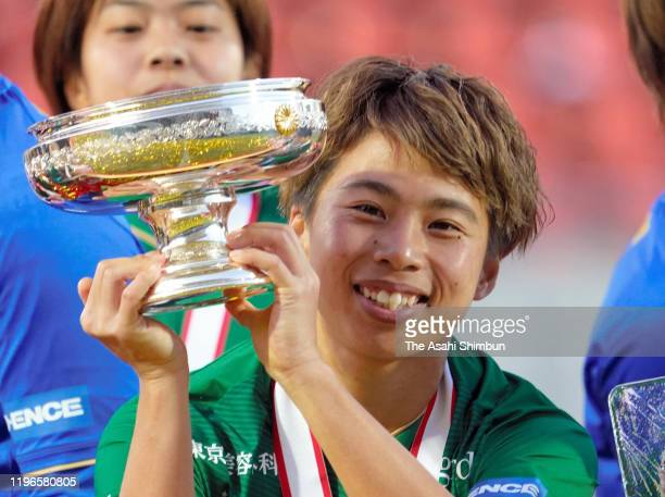 Captain Mina Tanaka of Nippon TV Beleza lifts the trophy at the ceremony after their victory in the Empress's Cup JFA 41st Japan Women's Football...