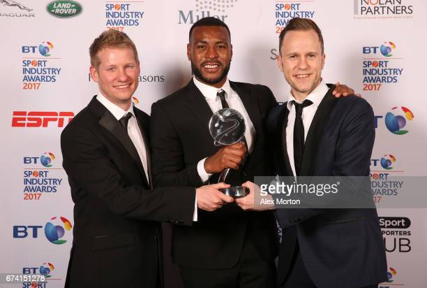 Captain Morgan for Captain Wes Morgan pose with the Best Use of PR award in association with Getty Images during the BT Sport Industry Awards 2017 at...