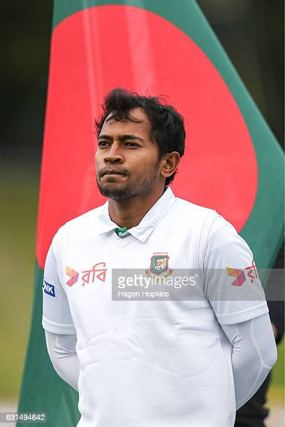 Captain Mushfiqur Rahim of Bangladesh looks on during day one of the First Test match between New Zealand and Bangladesh at Basin Reserve on January...