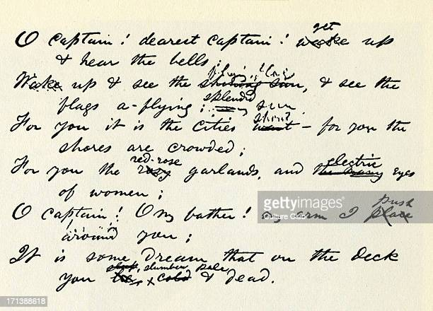 'O Captain My Captain' handwritten lines from poem by Walt Whitman in memory of Abraham Lincoln American poet and essayist 31 May 1819 – 26 March 1892