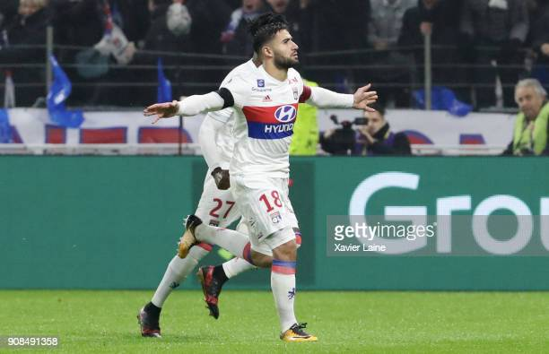 Captain Nabil Fekir of Olympique Lyonnais celebrate his goal with teammattes during the Ligue 1 match between Olympique Lyonnais and Paris Saint...