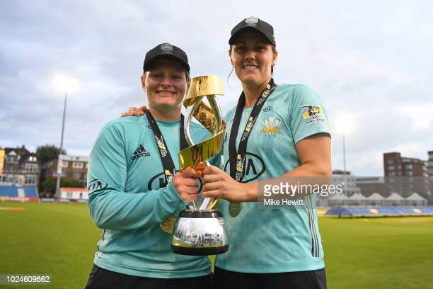 Captain Natalie Sciver and centurion Lizelle Lee of Surrey Stars holds the Winner's Trophy after the Final between Loughborough Lightning and Surrey...