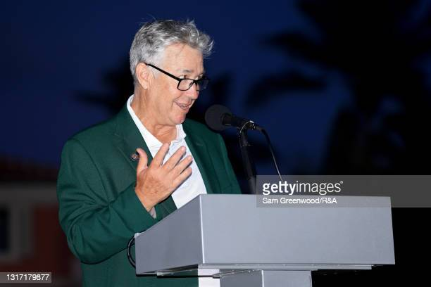 Captain Nathaniel Crosby speaks to the crowd during closing ceremonies on Day Two of The Walker Cup at Seminole Golf Club on May 09, 2021 in Juno...