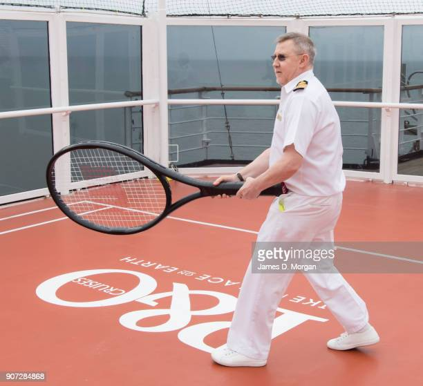 Captain Nick Boon plays tennis against Australian Open Tennis Legends Mark Philippoussis and Goran Ivanisevic on board PO Australia's Pacific Eden...