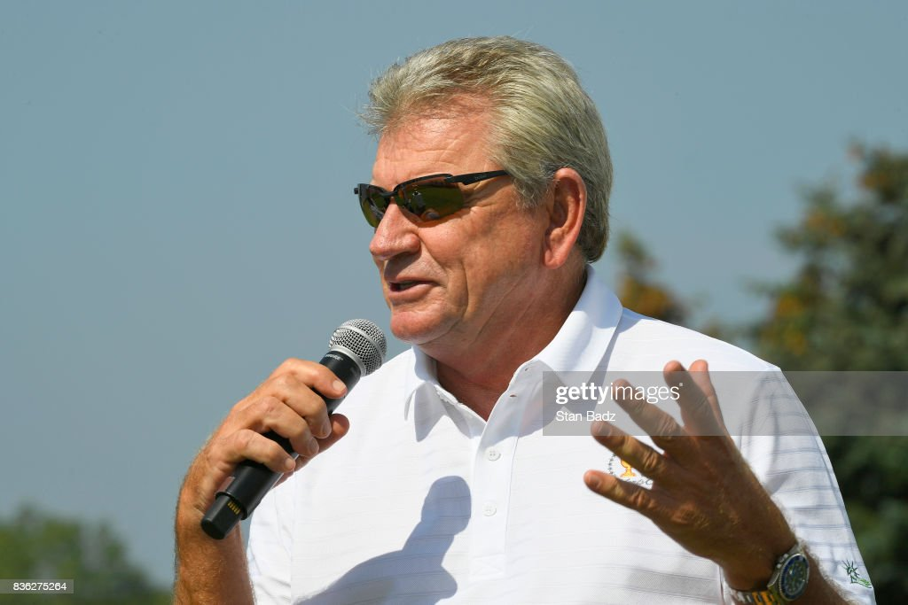 Captain Nick Price of the Presidents Cup International Team replies to questions during the Presidents Cup media day at Liberty National Golf Club, host course of the 2017 Presidents Cup in Jersey City, New Jersey on August 21, 2017.