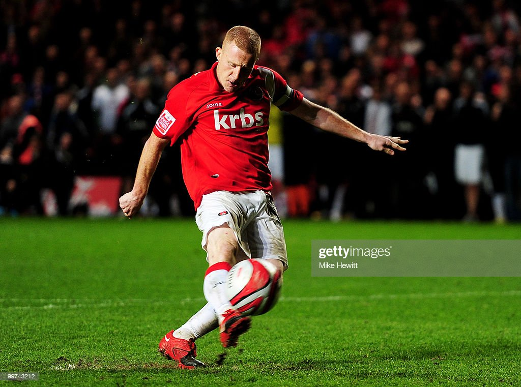 Captain Nicky Bailey of Charlton blasts his penalty kick wide during the Coca-Cola League One Playoff Semi Final 2nd Leg between Charlton Athletic and Swindon Town at The Valley on May 17, 2010 in London, England.