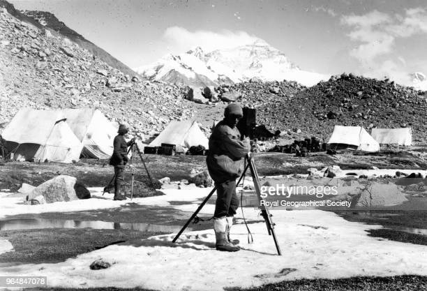 Captain Noel cinematographing at Base Camp Rongbuk Glacier Saintt Noel of the Camera as General Bruce like to refer to Captain Noel seen here...