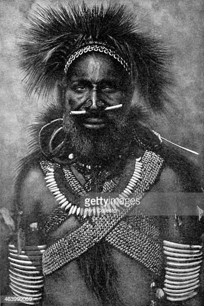 'Captain of a company of cannibal fighting men New Guinea' 1922 Illustration from Peoples of All Nations Their Life Today and the Story of Their Past...