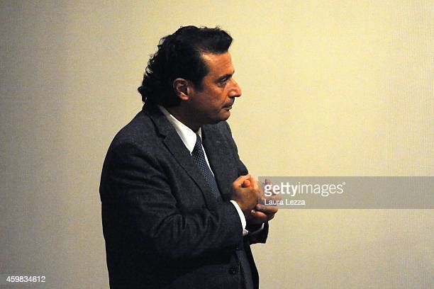 Captain of Costa Concordia Francesco Schettino stands after the hearing for his trial where he gave evidence for the first time in court on December...