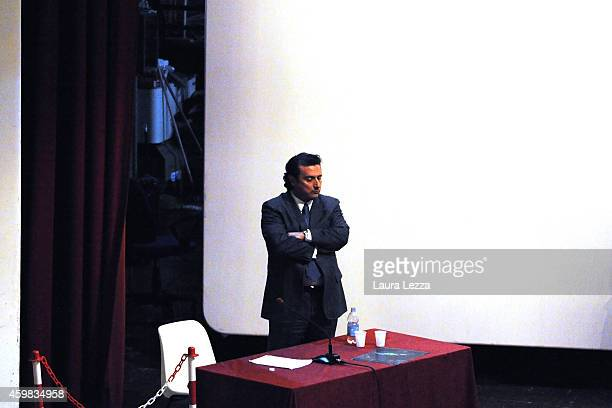 Captain of Costa Concordia Francesco Schettino stands during the hearing for his trial where he will give evidence for the first time in court on...
