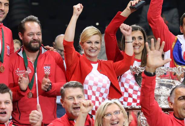 Captain of Croatia Zeljko Krajan, President of Croatia Kolinda Grabar-Kitarovic, President of <a class=