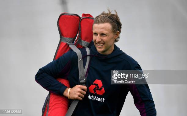 Captain of England, Joe Root looks on during a England Nets Session at Emirates Old Trafford on July 14, 2020 in Manchester, England.