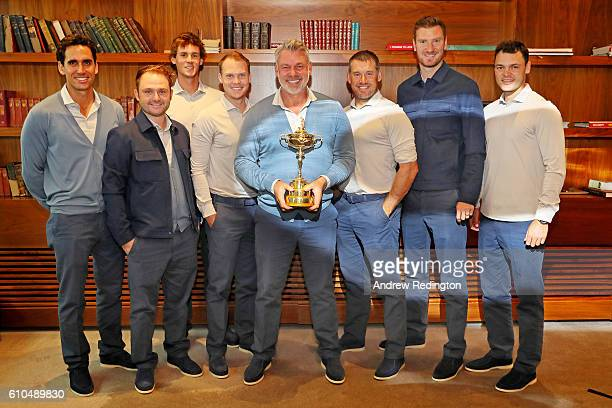 Captain of Europe Darren Clarke poses with Rafa Cabrera Bello Andy Sullivan Thomas Pieters Danny Willett Lee Westwood Chris Wood and Martin Kaymer of...