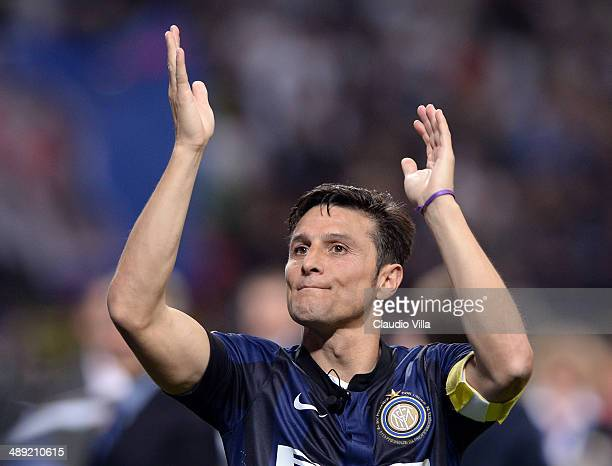 Captain of FC Inter Milano Javier Zanetti after the last match of his career at San Siro Stadium the Serie A match between FC Internazionale Milano...
