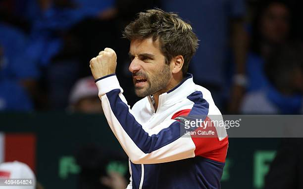 Captain of France Arnaud Clement reacts during day three of the Davis Cup tennis final between France and Switzerland at the Grand Stade Pierre...